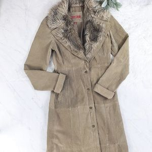 Vintage Jennyfer J Tan Leather Duster Trench Coat